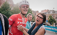 Jasper Stuyven (BEL/Trek-Segafredo) sprints to an emotional hometown win in Leuven (BEL) and is welcomed by his mom after the finish<br /> <br /> 52nd GP Jef Scherens - Rondom Leuven 2018 (1.HC)<br /> 1 Day Race: Leuven to Leuven (186km/BEL)