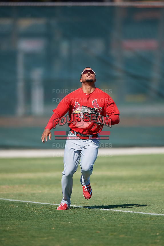 GCL Cardinals left fielder Angel Moreno (50) settles under a fly ball during a game against the GCL Nationals on August 5, 2018 at Roger Dean Chevrolet Stadium in Jupiter, Florida.  GCL Cardinals defeated GCL Nationals 17-7.  (Mike Janes/Four Seam Images)