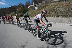 The peloton in action during Stage 7 of the 78th edition of Paris-Nice 2020, running 166.5km from Nice to Valdeblore La Colmiane, France. 14th March 2020.<br /> Picture: ASO/Fabien Boukla   Cyclefile<br /> All photos usage must carry mandatory copyright credit (© Cyclefile   ASO/Fabien Boukla)