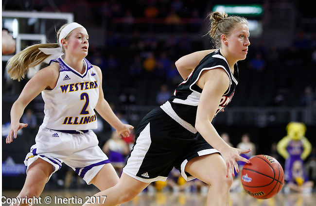 SIOUX FALLS, SD: MARCH 6: Mikaela Shaw #22 of Omaha drives past Western Illinois defender Emily Clemens #2 during the Summit League Basketball Championship on March 6, 2017 at the Denny Sanford Premier Center in Sioux Falls, SD. (Photo by Dick Carlson/Inertia)