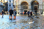 Tourists walk with boots and plastic bags to protect their shoes on flooded St Mark's square during an acqua alta (high-water). The Acqua Alta, a convergence of high tides and a strong sirocco, reached 125 centimetres in Venice, on November 20, 2013.  <br /> <br /> &copy; Pierre Teyssot