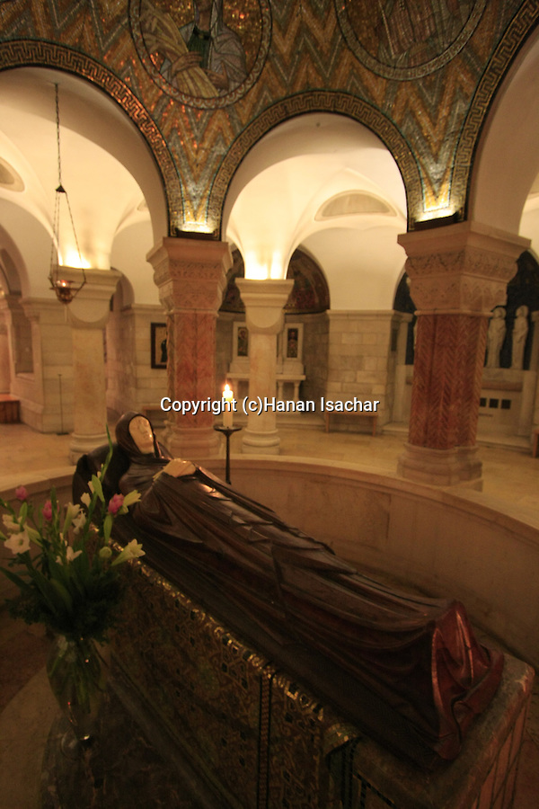 Israel, Jerusalem, the statue of Mary in eternal sleep on Assumption Day at the Dormition Church on Mount Zion
