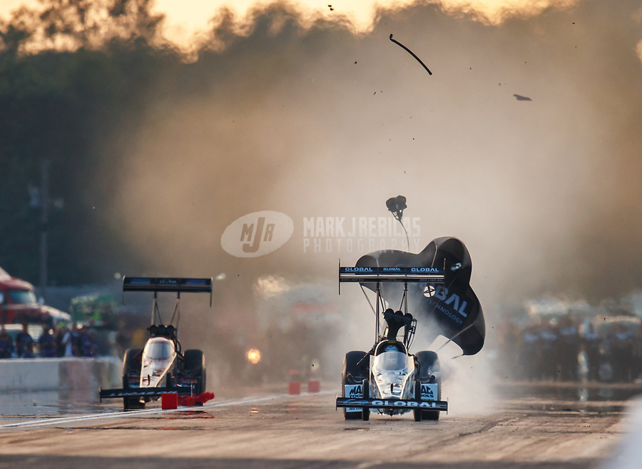 Aug 18, 2017; Brainerd, MN, USA; NHRA top fuel driver Shawn Langdon during qualifying for the Lucas Oil Nationals at Brainerd International Raceway. Mandatory Credit: Mark J. Rebilas-USA TODAY Sports