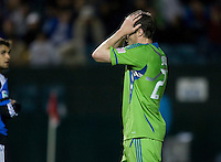 Nate Jaqua of Sounders reacts after missing a goal during the game against the Earthquakes at Buck Shaw Stadium in Santa Clara, California on April 2nd, 2011.   San Jose Earthquakes and Seattle Sounders are tied 2-2.