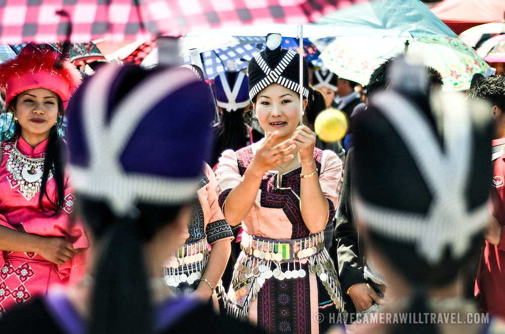 Hmong New Year Festival in Phonsavan Laos Girls in Costume Playing