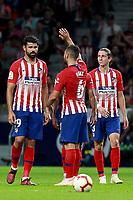 Atletico de Madrid vs Huesca Spanish league football match at Wanda Metropolitano in Madrid on September 25, 2018.<br /> Koke Celebrates his score with teammates