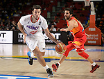 France's guard Antoine Diot vies with Spain's guard Ricky Rubio during the 2014 FIBA World basketball championships quarters of final match Spain vs France at the Palacio de los Deportes in Madrid on September 10, 2014.  PHOTOCALL3000 / DP
