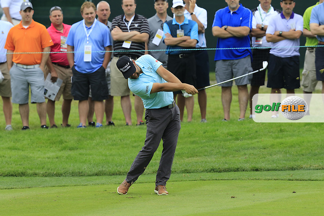Ryan Moore (USA) plays his 2nd shot on the 2nd hole during Friday's Round 1 of the 2016 U.S. Open Championship held at Oakmont Country Club, Oakmont, Pittsburgh, Pennsylvania, United States of America. 17th June 2016.<br /> Picture: Eoin Clarke | Golffile<br /> <br /> <br /> All photos usage must carry mandatory copyright credit (&copy; Golffile | Eoin Clarke)