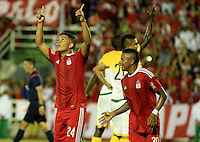 CALI -COLOMBIA-29-02-2016. Feiver Mercado jugador de América Cali celebra después de anotar el tercer gol de su equipo gol Orsomarso SC durante partido por la fecha 3 del Torneo Águila 2016 jugado en el estadio Francisco Rivera Escobar de Palmira. / Feiver Mercado player of America de Cali celebrates after scoring the third goal of his team to Orsomarso SC during match for the date 3 match of the Aguila Tournament 2016 played at Francisco Rivera Escobar stadium in Palmira. Photo: VizzorImage/Juan C. Quintero/