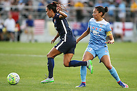 Piscataway, NJ - Saturday Aug. 27, 2016: Taylor Lytle, Christen Press during a regular season National Women's Soccer League (NWSL) match between Sky Blue FC and the Chicago Red Stars at Yurcak Field.