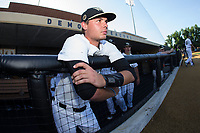 Bruce Steel (17) of the Wake Forest Demon Deacons waits for the game to start against the West Virginia Mountaineers in Game Four of the Winston-Salem Regional in the 2017 College World Series at David F. Couch Ballpark on June 3, 2017 in Winston-Salem, North Carolina.  The Demon Deacons walked-off the Mountaineers 4-3.  (Brian Westerholt/Four Seam Images)