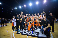 The Southland Sharks celebrate winning the national basketball league final  between Wellington Saints and Southland Sharks at TSB Bank Arena in Wellington, New Zealand on Sunday, 5 August 2018. Photo: Dave Lintott / lintottphoto.co.nz