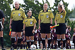 12 September 2009: Match referees. From left: Assistant referee Kevin Bowers, Fourth official Sandra Serafini, Match referee Margaret Domka, Assistant referee Kim Oberle. The University of North Carolina Tar Heels defeated the Texas A&M University Aggies 2-0 at Fetzer Field in Chapel Hill, North Carolina in an NCAA Division I Women's college soccer game.