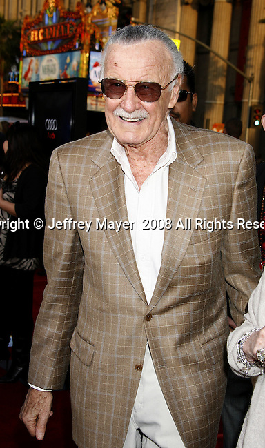 "Executive producer Stan Lee arrives to the ""Iron Man"" premiere at Grauman's Chinese Theatre on April 30, 2008 in Hollywood, California."