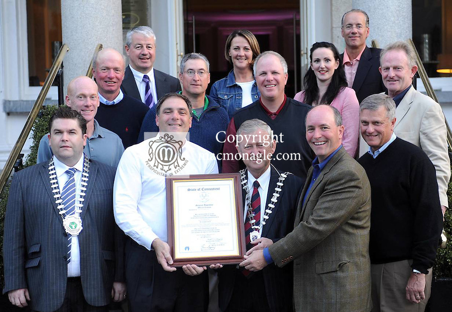 A visiting group from Connecticut made a special presentation to Mayor of Killarney Donal Grady on behalf of  US Senator Paul Doyle and  the Connecticut General Assembly  in The Malton Hotel Killarney last Saturday night. Front from left are Killarney Chamber President Tom Randles, PJ Cimini, Mayor Donal Grady and Patrick McCabe. Also included are John Rathgeber, James McCaush, Andy O'Shea, Alan West, Bob Kehmna, Rory O'Connor, Conor Hennigan, Mary Corkery and Ciara Brosnan. Picture: Eamonn Keogh (MacMonagle, Killarney)