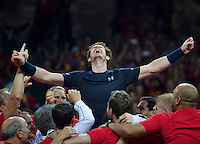 Gent, Belgium, November 29, 2015, Davis Cup Final, Belgium-Great Britain, day three, Andy Murray (GBR) screams it out in celebration while he is is liften up by his team members, Great Britain wins the Davis Cup 2015.<br /> Photo: Tennisimages/Henk Koster