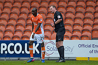 Referee Mark Brown Books Blackpool's Sanmi Odelusi<br /> <br /> Photographer Terry Donnelly/CameraSport<br /> <br /> The EFL Sky Bet League Two - Blackpool v Accrington Stanley - Friday 14th April 2017 - Bloomfield Road - Blackpool<br /> <br /> World Copyright &copy; 2017 CameraSport. All rights reserved. 43 Linden Ave. Countesthorpe. Leicester. England. LE8 5PG - Tel: +44 (0) 116 277 4147 - admin@camerasport.com - www.camerasport.com