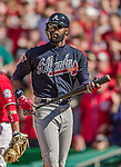 6 April 2014: Atlanta Braves right fielder Jason Heyward in action against the Washington Nationals at Nationals Park in Washington, DC. The Nationals defeated the Braves 2-1 to salvage the last game of their 3-game series. Mandatory Credit: Ed Wolfstein Photo *** RAW (NEF) Image File Available ***