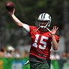 Josh McCown #15, New York Jets quarterback, throws a pass during team practice at the Atlantic Health Jets Training Center in Florham Park, NJ on Saturday, July 28, 2018.