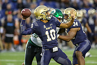 Annapolis, MD - October 26, 2019: Navy Midshipmen quarterback Malcolm Perry (10) throws a pass during the game between Tulane and Navy at  Navy-Marine Corps Memorial Stadium in Annapolis, MD.   (Photo by Elliott Brown/Media Images International)