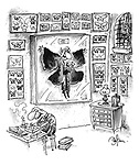 (Butterfly collector with impaled vampire in display case)
