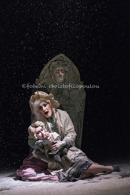 London, UK. 14.12.2015. Arthur Pita's The Little Match Girl at the Lillian Baylis Studio, Sadler's Wells Theatre. Photo shows: Angelo Smimmo - The Grandmother, Corey Annand - The Little Match Girl. Photo - © Foteini Christofilopoulou.