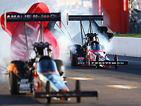 Sep 22, 2018; Madison, IL, USA; NHRA top fuel driver Richie Crampton (right) during qualifying for the Midwest Nationals at Gateway Motorsports Park. Mandatory Credit: Mark J. Rebilas-USA TODAY Sports