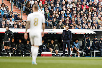 1st February 2020; Estadio Santiago Bernabeu, Madrid, Spain; La Liga Football, Real Madrid versus Atletico de Madrid; Zinedine Zidane Coach of Real Madrid watches the game closely