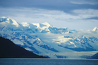 Harvard glacier and snow covered Chugach mountains, College Fjord Prince William Sound, Alaska.