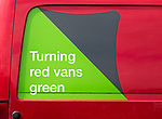 Red Parcelforce Worldwide Mercedes-Benz Sprinter delivery van using green Eco-Start energy, Wiltshire, England, Uk