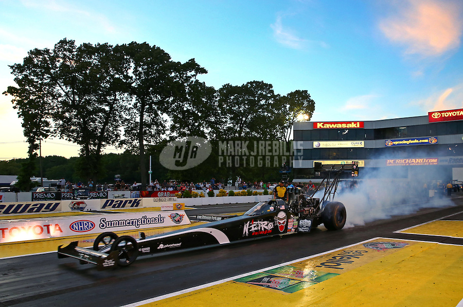 May 31, 2013; Englishtown, NJ, USA: NHRA top fuel dragster driver Dom Lagana during qualifying for the Summer Nationals at Raceway Park. Mandatory Credit: Mark J. Rebilas-