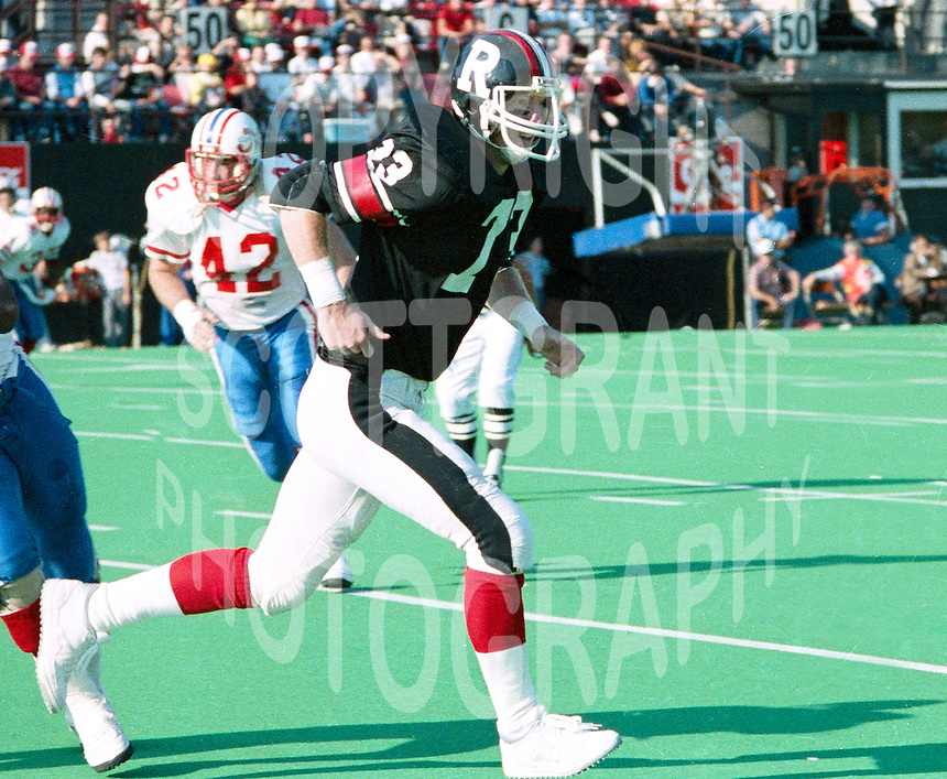 Mike Hudson Ottawa Rough Riders 1985. Photo John Bradley