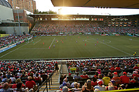 Portland, OR - Saturday May 27, 2017: Providence Park Sunset during a regular season National Women's Soccer League (NWSL) match between the Portland Thorns FC and the Boston Breakers at Providence Park.