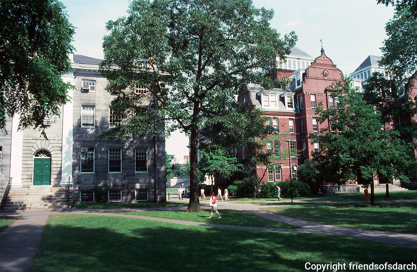Cambridge:  Harvard Yard--looking east.  On left, Charles Bullfinch's University Hall, 1813-14. White Chelmsford granite, NRHP, 1970.  Colonial Revival, Federal style.  Photo '88.