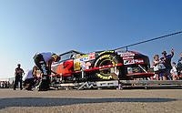 Sept. 28, 2008; Kansas City, KS, USA; The car of Nascar Sprint Cup Series driver Juan Pablo Montoya goes through tech inspection prior to the Camping World RV 400 at Kansas Speedway. Mandatory Credit: Mark J. Rebilas-