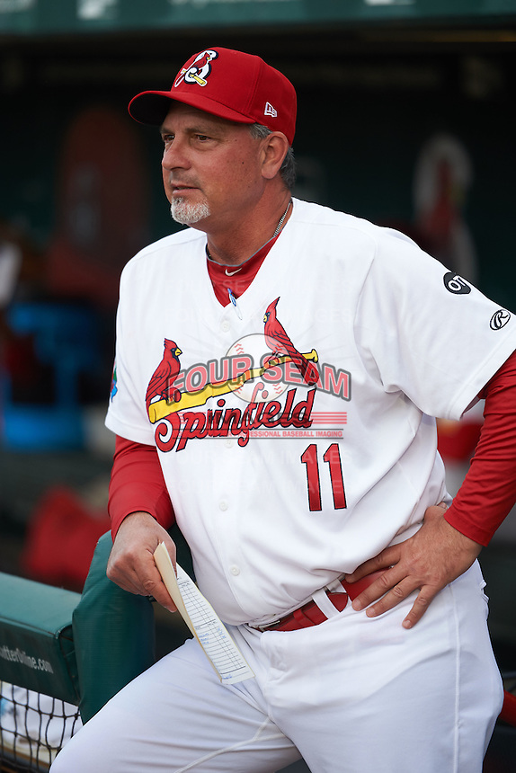 Springfield Cardinals manager Dann Bilardello (11) before a game against the Frisco RoughRiders  on June 3, 2015 at Hammons Field in Springfield, Missouri.  Springfield defeated Frisco 7-2.  (Mike Janes/Four Seam Images)