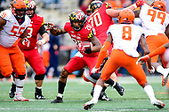 College Park, MD - OCT 27, 2018: Maryland Terrapins running back Javon Leake (20) picks up the first down during game between Maryland and Illinois at Capital One Field at Maryland Stadium in College Park, MD. The Terrapins defeated Illinois to move to 5-3 on the season. (Photo by Phil Peters/Media Images International)