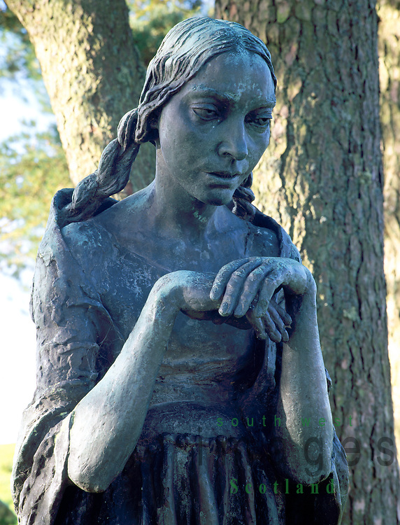 Art Jacob Epstein's sculpture Visitation (Virgin Mary) amoungest the trees at Glenkiln near Dumfries Scotland UK