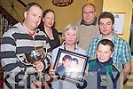 Pictured at the launch of the Mike Landers Memorial Cup competition in Murphys Bar, Killarney on Monday night were Denis Brosnan, Murphys Bar, Mary Carmel O'Connor, Connor Landers, Setanta Landers, Sarah Landers and Roland Seuter.