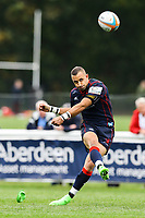 Jonny Harris of London Scottish kicks the ball during the Greene King IPA Championship match between London Scottish Football Club and Doncaster Knights at Richmond Athletic Ground, Richmond, United Kingdom on 30 September 2017. Photo by Jason Brown / PRiME Media Images.