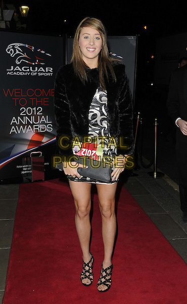 Jade Jones.The Jaguar Academy of Sport Annual Awards 2012, Savoy Hotel, The Strand, London, England..December 2nd, 2012.full length black white pattern dress fur jacket coat clutch bag.CAP/CAN.©Can Nguyen/Capital Pictures.