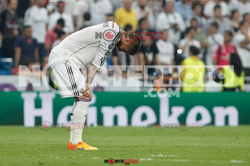 Real Madrid´s Sergio Ramos regrets the defeat after the Champions League semi final soccer match between Real Madrid and Juventus at Santiago Bernabeu stadium in Madrid, Spain. May 13, 2015. (ALTERPHOTOS/Victor Blanco) /NortePhoto.COM