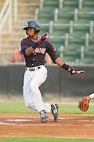 Tim Anderson (2) of the Kannapolis Intimidators follows through on his swing against the Lakewood BlueClaws at CMC-Northeast Stadium on August 14, 2013 in Kannapolis, North Carolina.  The Intimidators defeated the BlueClaws 10-2.  (Brian Westerholt/Four Seam Images)
