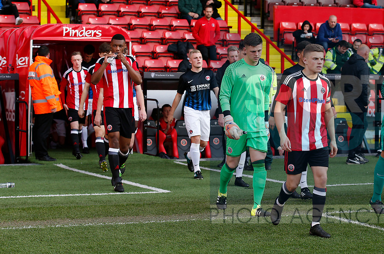 Regan Slater leads out the blades during the U18 Professional Development League 2 play off semi final match at  Bramall Lane, Sheffield. Picture date: April 21st 2017. Pic credit should read: Simon Bellis/Sportimage