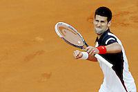 Esultanza di Novak Djokovic. Celebration.<br /> Roma 18-05-2014 Foro Italico, finale del singolare maschile degli  Internazionali d'Italia di Tennis. Foto Antonietta Baldassarre / Insidefoto
