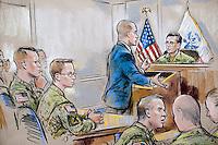 CORRECCIÓN PIE DE FOTO: CORRIGE IDENTIFICACIÓN...STX12 FT MEADE (ESTADOS UNIDOS) 16/12/2011.- Interpretación artística del abogado del soldado estadounidense Bradley Manning, sospechoso de filtrar miles de documentos secretos a WikiLeaks, David Coombs, (i), defendiendo a su cliente ante Paul Almanza, un teniente coronel que preside la audiencia y que es fiscal de carrera en el Departamento de Justicia de EE.UU, durante la primera audiencia sobre el caso en Fort George Meade, en Maryland (noreste de EE.UU.), hoy, viernes, 16 de diciembre de 2011. El abogado de Bradley Manning pidió hoy la recusación del oficial. La petición de David Coombs, abogado de Manning, se dirige contra Paul Almanza, un teniente coronel que preside la audiencia y que es fiscal de carrera en el Departamento de Justicia de EE.UU. EFE/William J. Hennessy Jr.