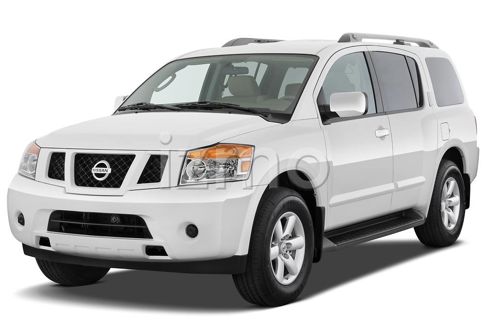 2010 Nissan Armada SE 5 Door SUV angular front stock photos of front three quarter view