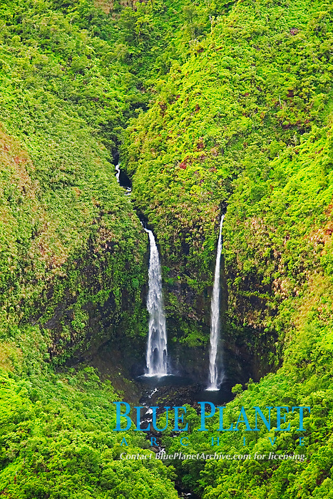 Twin waterfalls, Hanalei, Kauai, Hawaii