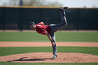 Arizona Diamondbacks relief pitcher Colin Poche (19) follows through on his delivery during a Minor League Spring Training intrasquad game at Salt River Fields at Talking Stick on March 12, 2018 in Scottsdale, Arizona. (Zachary Lucy/Four Seam Images)