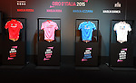 The official presentation of the four 2015 Giro d'Italia classification leaders' jerseys. The presentation took place in fantastic scenery of Fortezza da basso.<br /> This year the jerseys have been designed by the Italian brand Lebole and made by Santini Maglificio Sportivo, which will celebrate its 50th anniversary this year. Florence, Italy. 13th January 2015<br /> Photo: www.newsfile.ie